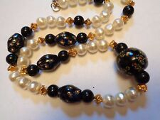 Vintage Long  Black MILLEFIORI  GLASS & White Faux Pearl Beaded  Necklace