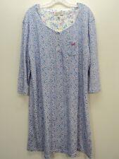 KAREN NEUBURGER Nightgown 1X 2X Blue Pink Floral 3/4 Sleeve Cotton Blend NWT
