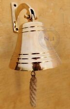 Brass Ship Bell Collectable Wall Mount Bracket Nautical Hanging Home Door Bell