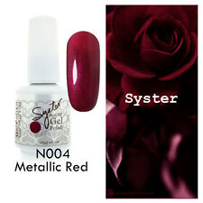 SYSTER 15ml Nail Art Soak Off Glitter Color UV Gel Polish N004 - Metallic Red