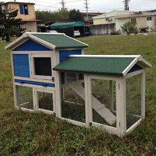 "DELUXE 58"" Rabbit Hutch Poultry Cage Chicken Coop Guinea Pig Ferret Hen"