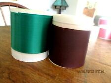 RIBBON VINTAG E,  2 SATIN REMNANTS, ONE BROWN ONE BRIGHT GREEN 1940'S