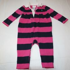 Ralph Lauren one piece body suit Baby Girls 6M pink navy blue with green pony