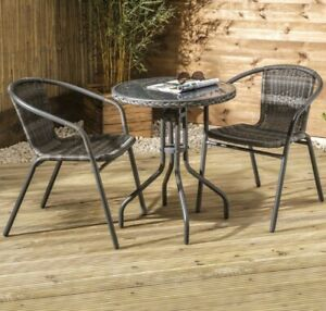Grey Rattan Bistro Patio Set Garden Dining Furniture Outdoor Dining 3 Piece Set