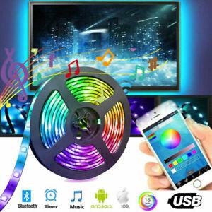 5050 RGB LED Strip Lights Music Sync Bluetooth APP Control TV PC Back Light USB