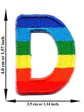 """ D "" Rainbow Alphabet Letter English Language Applique Iron on Patch Sew"