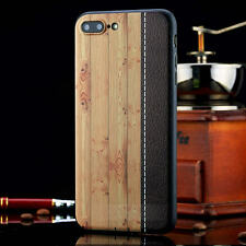 Hybrid Slim Wood Wooden Bamboo + PU Bumper Case Cover For iPhone 7/7 Plus 6S 6