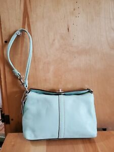 Coach Leather Mini Bag Bagette Clutch wristlet mint EUC!!