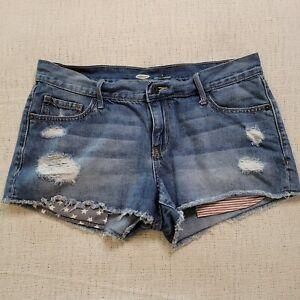 Old Navy Shorts Womens Juniors Size 4 Regular Denim Distressed Cut-Off Low Rise
