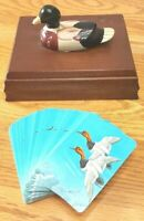 VTG Ceramic Duck Wood Box Card Holder ONE Deck Cards Price 1981 Hunting Mallard