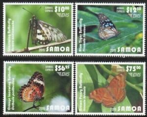 Samoa 2015 - EMS (Airmail Express) Butterflies - Set of 4 - MNH (White Border)