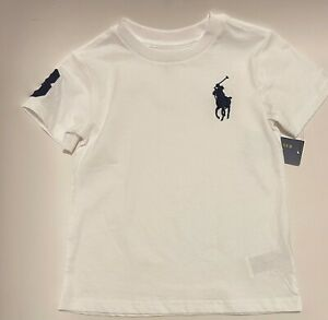 NWT Polo Ralph Lauren Toddler Boys Kids Big Pony T-Shirt White Size 4/4T