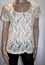 NEXT Brand Cream Floral Lace Short Sleeve Top Size 18 BNWT #TK97
