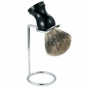 2 in 1 Badger Beard Mustache Hair Removal Brush Foam Cleansing With Stand Holder
