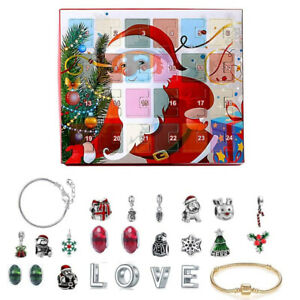 Christmas Advent Calendar DIY Charm Jewelry Bracelet Countdown to 24 Days 24pcs