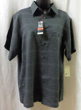 Haggar Men Shirt Size M NWT Black Plaid Short Sleeve Polyester Button Front $48