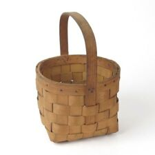 Vtg woven basket with handle splint wood country farmhouse rustic