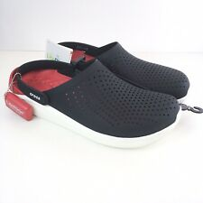 Crocs LITERIDE Clog Men's 12 Relaxed Fit Black White Red #204592-066 NEW