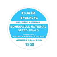 1950 BONNEVILLE NATIONAL SPEED TRIALS HOT ROD RACING NHRA DECAL BUMPER STICKER