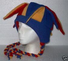 NEW fleece jester snowboarding hat red/yellow/blue ties