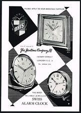 1950s Vintage 1957 Oris Swiss Alarm Clock Bentima Mid Century Art Print Ad