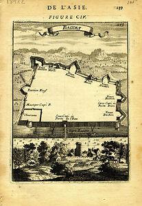 "1683 Genuine Antique map ""Bagdet"", Baghdad, Fauschbourg, Iraq. A M Mallet"