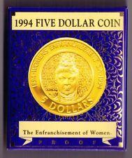"1994 $5 ""The Enfranchisement of Women"" proof coin"