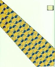All-over Blue Designs on Gold Necktie Neck Tie KETCH - Soft Polyester
