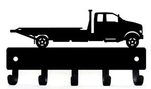 """Flatbed Tow Truck Wall Key Holder Rack 5 Hooks, Made in USA Metal Lg 9"""" wide"""