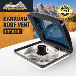 Caravan Roof Vent Hatch Pop up Fan Vents 12V RV 3 Speed Motorhome Smoke Blue