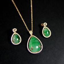 Rose Gold Plated Brass Teardrop Jade CZ Cluster Earring & Necklace Set UK New