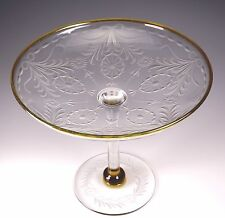 RARE Antique Pairpoint Large Amber/Topaz Trim Waterford Etch Glass Compote