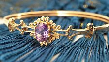 Pretty 9ct Gold 1.25 carat Natural Amethyst Bangle Bracelet. NICE1