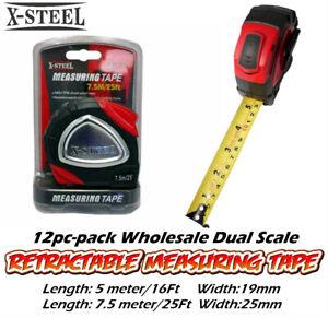 12pc-Pk Wholesale Dual Scale Retractable Measuring Tape Measure 5m/7.5m