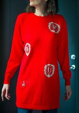 Lambswool Angora Long Sweater Dress Red Beaded Letters Pullover Sparkly Size M
