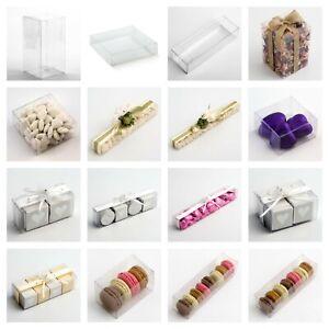 Luxury DIY Wedding Favour Gift Boxes Transparent PVC Clear Rectangular Square
