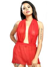 Red Micro Mini Dress Women's Sheer Backless Sleeveless Transparent See Thru