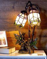 Tiffany Lampe Elfe Fee Tischleuchte Glas Barock LED Nachttischlampe Metall 45cm