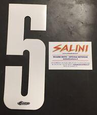 Numeri adesivi gara moto cross - UFO cinque bianco
