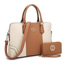 Dasein 2pcs Set Women Handbags Faux Leather Briefcase Purse Tote Shoulder Bags