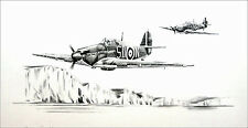 RAF Hurricane print signed by Battle of Britain 501 Squadron pilot T Pickering