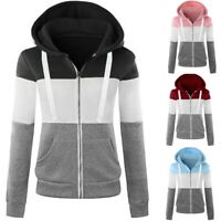 Women Ladies Zip Up Hoodie Hoody Jacket Coat Sweatshirt Top Sweatshirt Plus