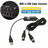 USB IN-OUT MIDI Interface Cable Converter to PC Music Keyboard Adapter Cord US