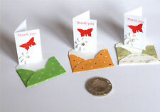 Fairy Garden Tooth Fairy Thank You Card X3, Dolls House Miniature Accessory Pink
