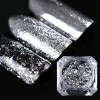 Silber Flocken Glitzer Nagel Kunst Pulver Nail Paillette Glitter Born Pretty