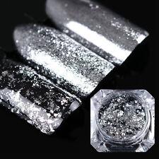 BORN PRETTY Silber Flocken Glitzer Nagel Kunst Pulver Nail Paillette Glitter
