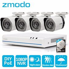 Zmodo 8CH HD NVR 4 720P  IP PoE Outdoor CCTV Home Security Camera System 1TB
