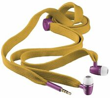 URBAN REVOLT BOOT LACE YELLOW PURPLE EARPHONES, MIC, VOL CONTROL, SPARE EARPLUGS