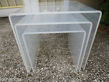 3 LUCITE Nesting Tables Mid-Century Modern Acrylic End Side Hollywood Regency