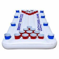 6x3ft Inflatable Floating Lake Pool Lounge Beer Pong Table W/ Cup Holders White